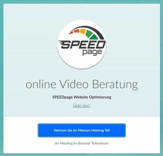 Video Beratung SPEEDpage